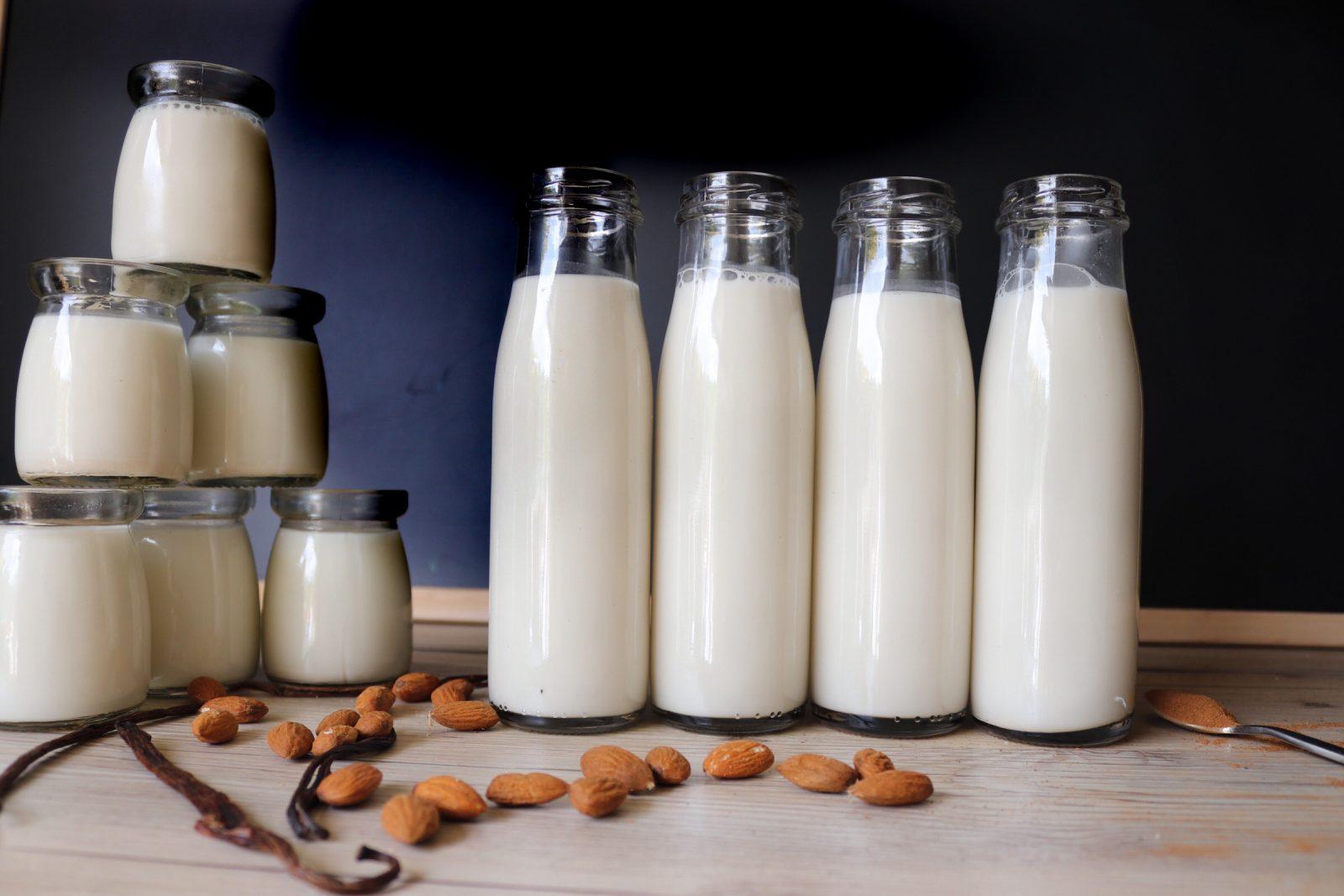 Homemade Almond Milk in Glass Bottles