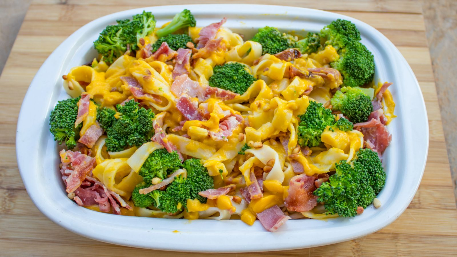 Pasta in a butternut and coconut milk sauce, with broccoli and bacon