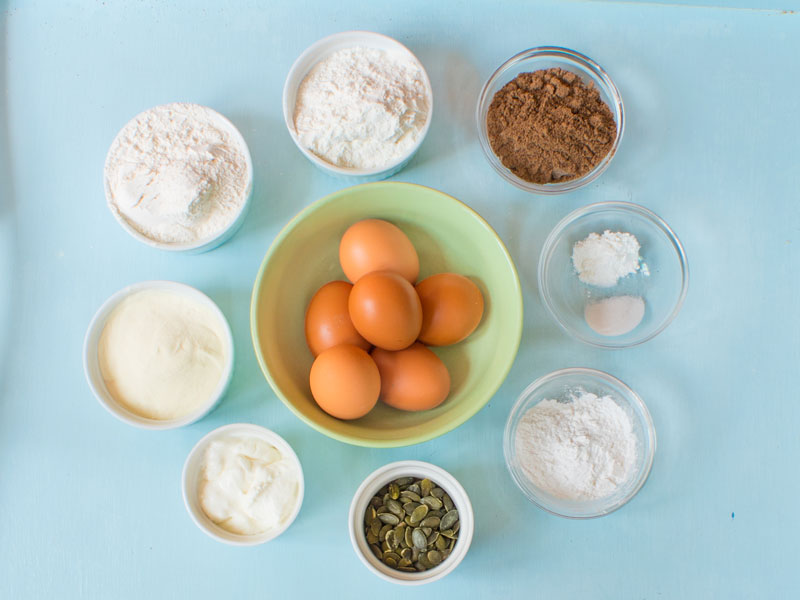 eggs and ingredients to make healthy homemade bread