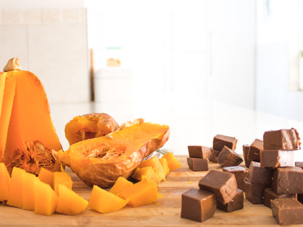 Healthy Homemade Chocolate Blocks with its main ingredient-butternut