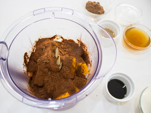 butternut and other healthy chocolate ingredients in a blender